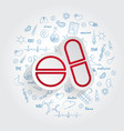 pills icon on handdrawn healthcare doodles vector image