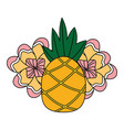 pineapple fruit flower tropical summer vector image vector image