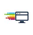 pixel art computer logo icon design vector image