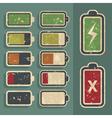 Retro Grunge Battery Level Indicator Kit vector image vector image