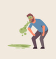 sad guy vomiting nausea stomach ache food or vector image