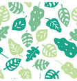 seamless background green tropical leaves vector image
