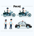 set colorful isolated policeman at work vector image