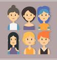 set of stylish girls characters in modern vector image vector image