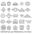 Set of thin linear ecology labels and font vector image vector image
