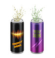 set two aluminum cans with energy drinks vector image