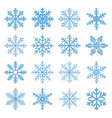 set winter snowflake isolated on white vector image