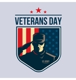 shield with soldier saluting vector image vector image