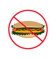 Sign of prohibition hot dog hamburger fast food