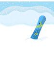 snowboard on landscape background vector image vector image