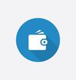 Wallet Flat Blue Simple Icon with long shadow vector image vector image