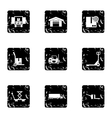 Warehouse icons set grunge style vector image vector image