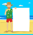young cute man with blank board on tropical beach vector image