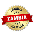 Zambia round golden badge with red ribbon vector image vector image