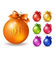Set of colored Christmas balls vector image