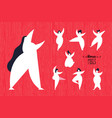 girl poses set of diverse young curvy women vector image