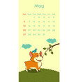 2018 may calendar with welsh corgi dog vector image vector image