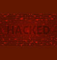 ascii art background with word hacked vector image vector image