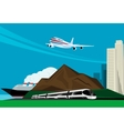 background image with train plane and cruise ship vector image vector image