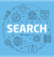 blue line flat circle search vector image