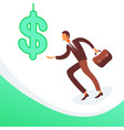 businessman touching hang dollar icon money wealth vector image