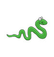 cartoon of a cute smiling green snake eps10 vector image