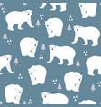 christmas seamless pattern with polar bear vector image vector image
