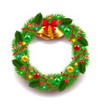 Christmas wreath isolated on white vector image vector image