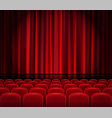 closed red curtains with seats in a theater or vector image vector image