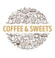coffee and sweets hot drinks and desserts sketch vector image