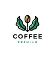 coffee bean tree leaf sprout logo icon vector image