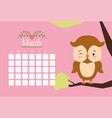 cute animals calendar vector image