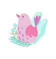 cute little pink bird symbol of spring vector image vector image