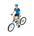 cyclists in helmet and sportswear vector image
