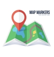 flat red marker symbol on green map vector image