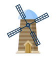 flat wind mill building isolated on white vector image