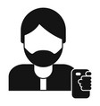 hipster man take selfie icon simple style vector image vector image