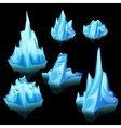Icebergs set of different shape and size vector image vector image
