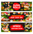 japanese cuisine and sushi bar banners vector image vector image