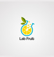 lab fruit logo icon element template vector image vector image