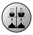 Laboratory burner and flask button vector image