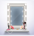 makeup mirror realistic composition vector image vector image