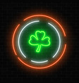 neon glowing clover leaf sign green shamrock as vector image