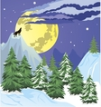 Night winter forest scene vector image vector image