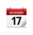 November 17 flat daily calendar icon vector image vector image