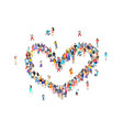 people heart sign happy group people life vector image vector image