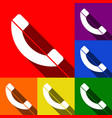 phone sign set of icons with vector image