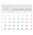 planners for 2016 january vector image vector image