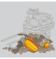pumpkins in wagon vector image vector image