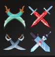 set of crossed medieval swords vector image vector image
